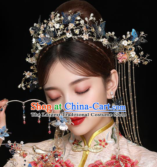Chinese Ancient Handmade Blue Butterfly Phoenix Coronet Bride Hairpins Traditional Classical Wedding Hair Accessories for Women