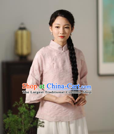 Chinese National Costume Traditional Classical Cheongsam Pink Blouse for Women