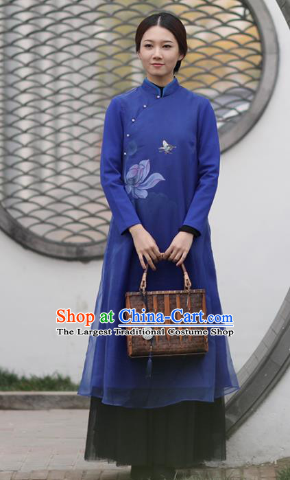 Chinese National Costume Traditional Cheongsam Classical Printing Lotus Deep Blue Qipao Dress for Women