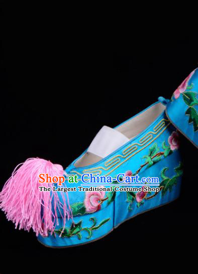 Professional Chinese Beijing Opera Shoes Ancient Princess Blue Embroidered Shoes for Women