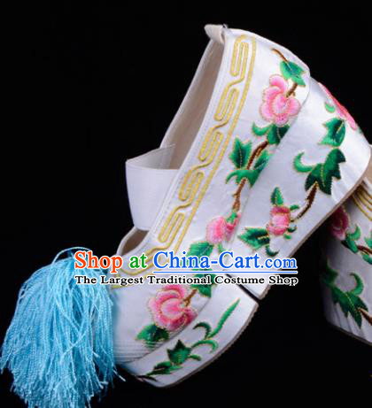 Professional Chinese Beijing Opera Shoes Ancient Princess White Embroidered Shoes for Women