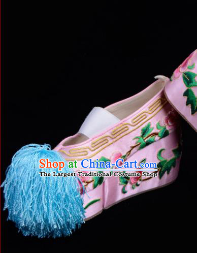Professional Chinese Beijing Opera Shoes Ancient Princess Pink Embroidered Shoes for Women