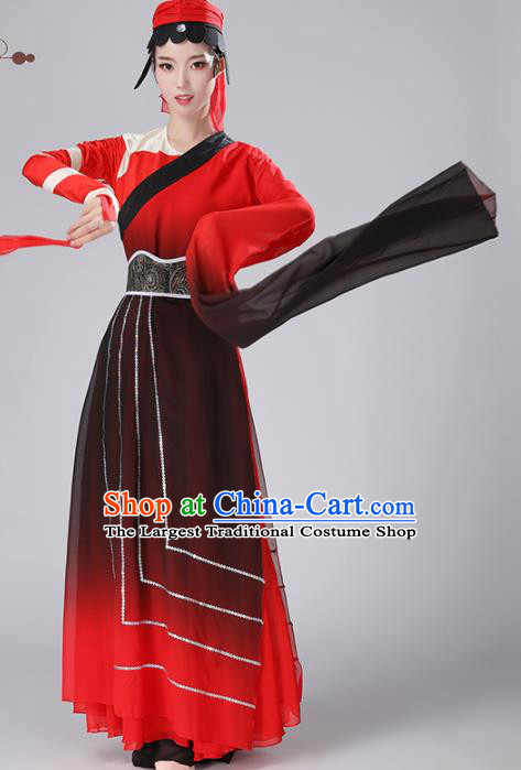 Chinese Traditional Stage Performance Costume Classical Dance Umbrella Dance Red Dress for Women