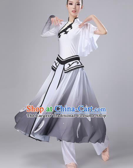Chinese Traditional Stage Performance Costume Classical Dance Umbrella Dance Gradient Grey Dress for Women