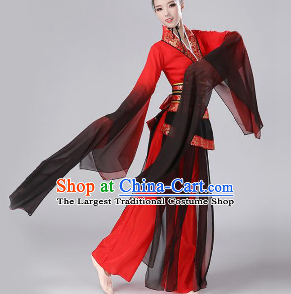 Chinese Traditional Stage Performance Costume Classical Dance Umbrella Dance Water Sleeve Dress for Women