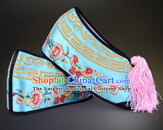 Professional Chinese Beijing Opera Actress Shoes Ancient Princess Blue Embroidered Shoes for Women