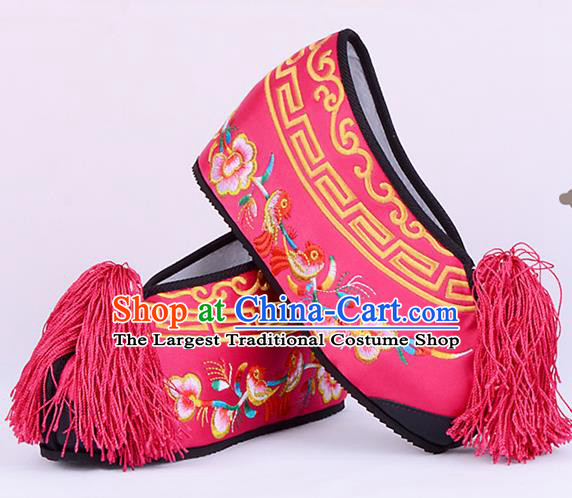 Professional Chinese Beijing Opera Actress Shoes Ancient Princess Rosy Embroidered Shoes for Women