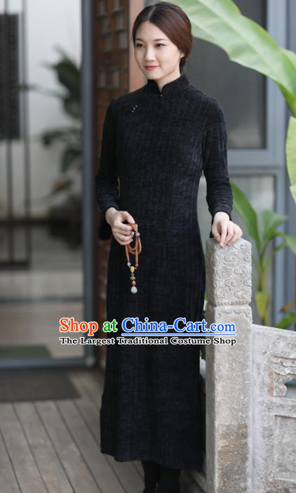 Chinese National Costume Traditional Cheongsam Classical Black Qipao Dress for Women