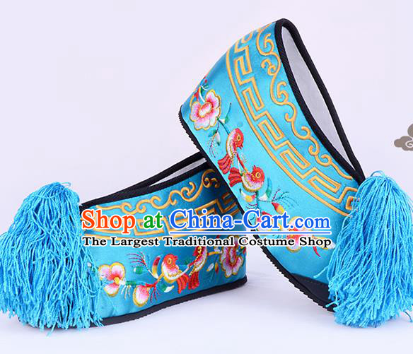 Professional Chinese Beijing Opera Actress Shoes Ancient Princess Lake Blue Embroidered Shoes for Women