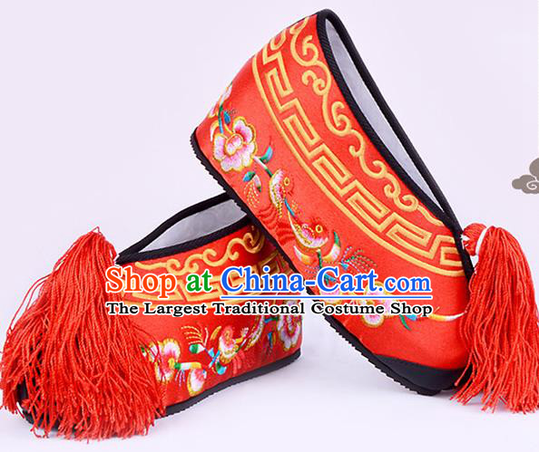 Professional Chinese Beijing Opera Actress Shoes Ancient Princess Red Embroidered Shoes for Women