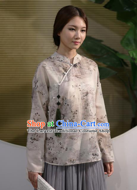 Chinese National Costume Traditional Classical Cheongsam Printing Silk Blouse for Women