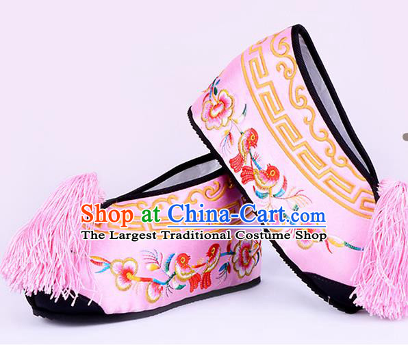 Professional Chinese Beijing Opera Actress Shoes Ancient Princess Pink Embroidered Shoes for Women