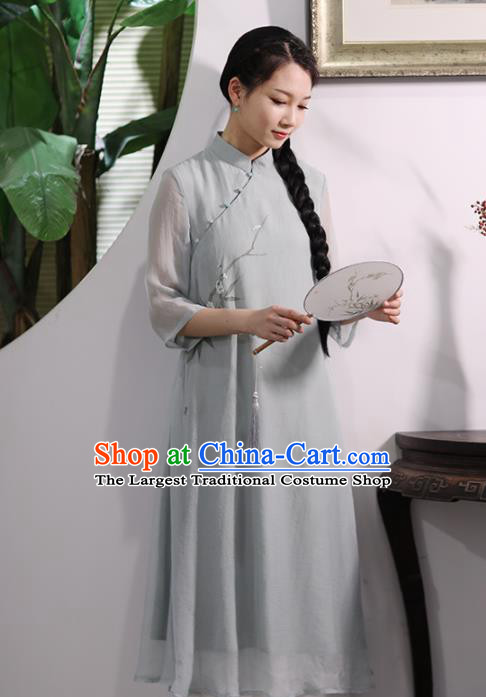 Chinese National Costume Traditional Cheongsam Classical Printing Plum Blossom Qipao Dress for Women