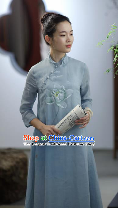 Chinese National Costume Traditional Cheongsam Classical Printing Lotus Blue Qipao Dress for Women