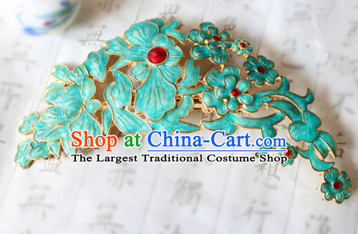 Chinese Ancient Traditional Handmade Palace Green Hair Comb Classical Hair Accessories for Women