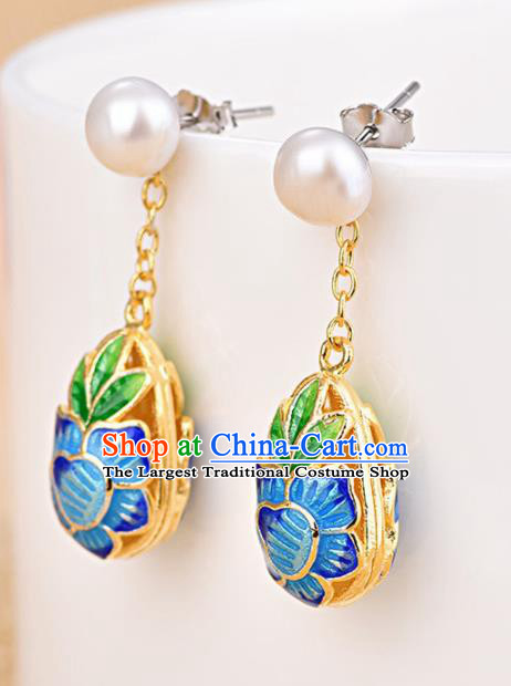 Chinese Ancient Traditional Handmade Earrings Classical Cloisonne Lotus Ear Accessories for Women