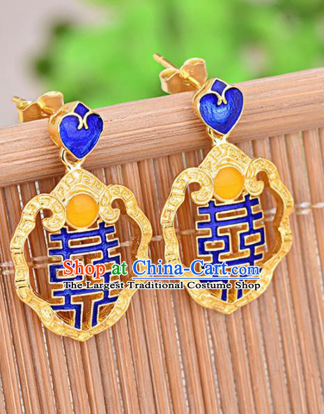 Chinese Ancient Traditional Handmade Wedding Cloisonne Earrings Classical Ear Accessories for Women