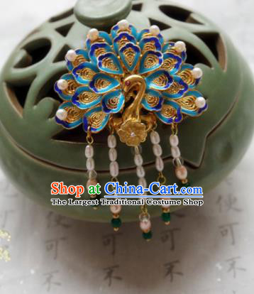 Chinese Ancient Handmade Blueing Peacock Hairpins Traditional Classical Hair Accessories for Women