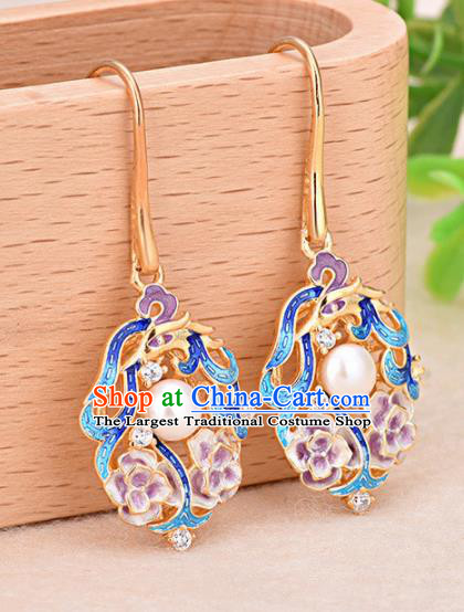 Chinese Ancient Traditional Handmade Colored Enamel Earrings Classical Ear Accessories for Women
