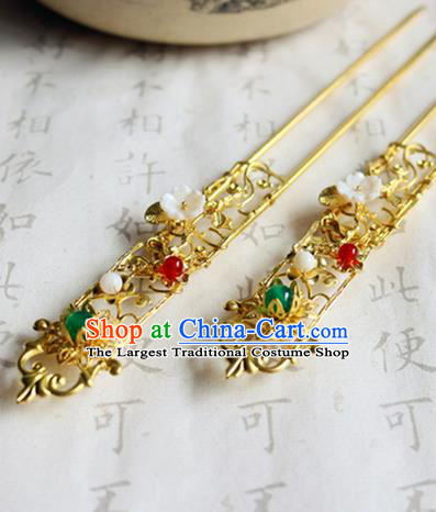 Chinese Ancient Handmade Golden Hairpins Traditional Classical Hair Accessories for Women