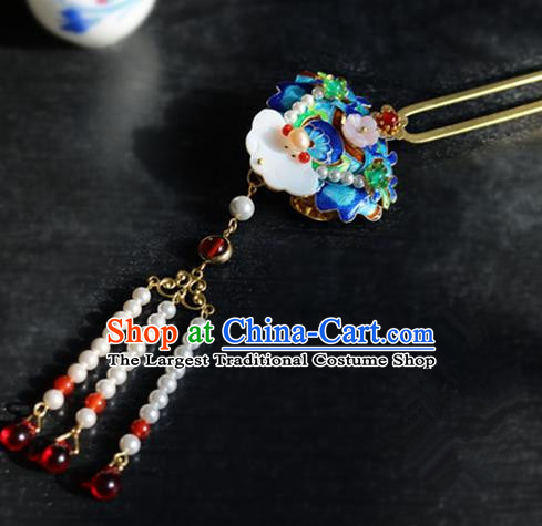 Chinese Ancient Handmade Cloisonne Shell Hairpins Traditional Classical Hair Accessories for Women