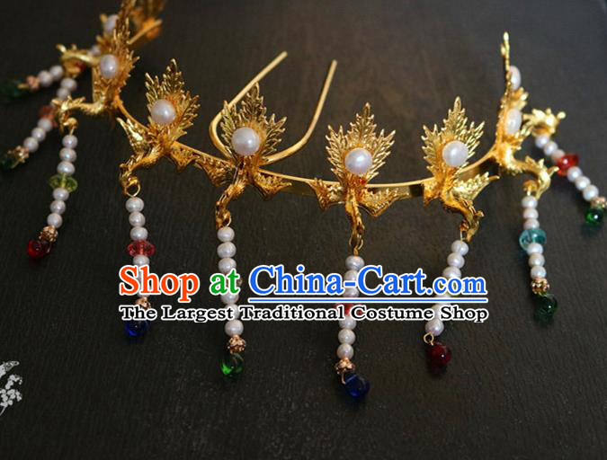 Chinese Ancient Handmade Palace Tassel Hair Crown Hairpins Traditional Classical Hair Accessories for Women