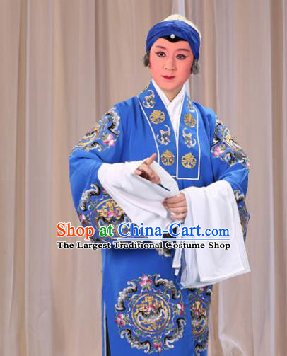 Professional Chinese Traditional Beijing Opera Old Female Costume Embroidered Blue Dress for Adults
