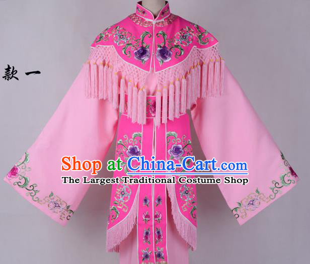 Professional Chinese Traditional Beijing Opera Costume Peri Pink Embroidered Dress for Adults