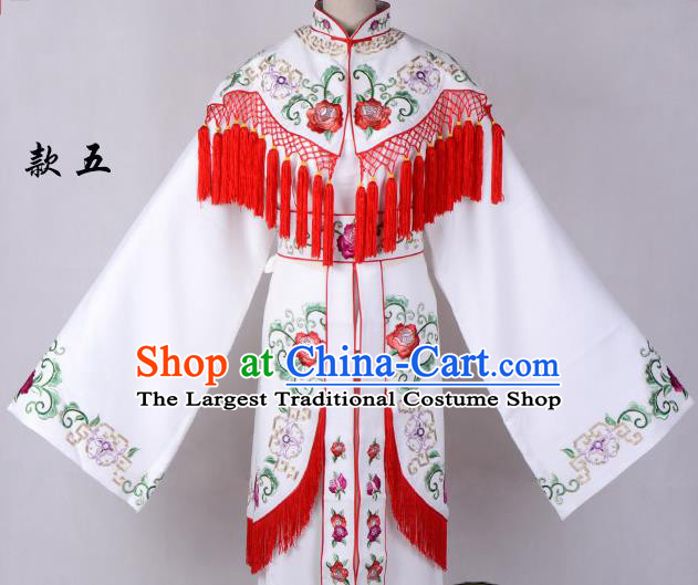Professional Chinese Traditional Beijing Opera Costume Peri White Embroidered Dress for Adults