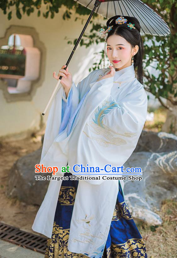 Chinese Ancient Ming Dynasty Imperial Consort Embroidered Historical Costume Complete Set for Women