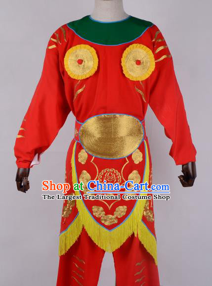 Professional Chinese Beijing Opera Takefu Costume Ancient Soldier Red Clothing for Adults