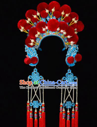 Chinese Beijing Opera Blues Hair Accessories Ancient Female General Phoenix Coronet for Women