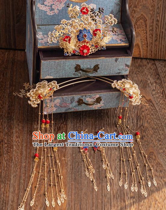 Chinese Ancient Handmade Pine Hair Crown Bride Tassel Hairpins Traditional Classical Wedding Hair Accessories for Women