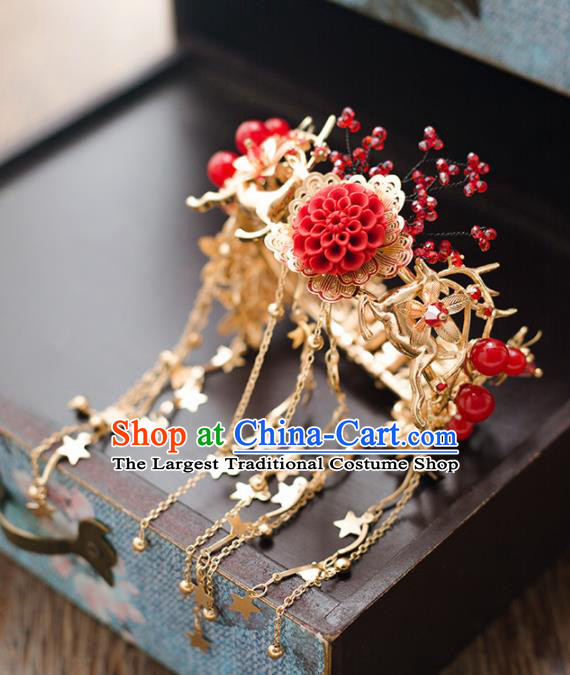 Top Grade Chinese Handmade Wedding Bracelet Bride Red Tassel Bangle Accessories for Women