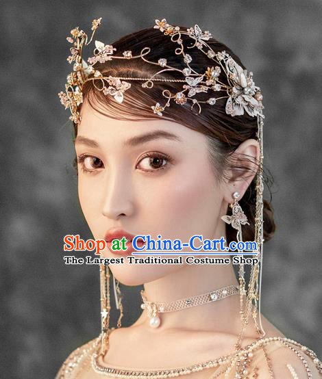 Chinese Ancient Handmade Butterfly Hair Clasp Bride Hairpins Traditional Classical Wedding Hair Accessories for Women