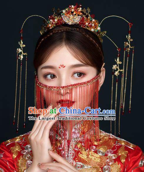 Chinese Ancient Handmade Bride Phoenix Coronet Hairpins Traditional Classical Wedding Hair Accessories for Women