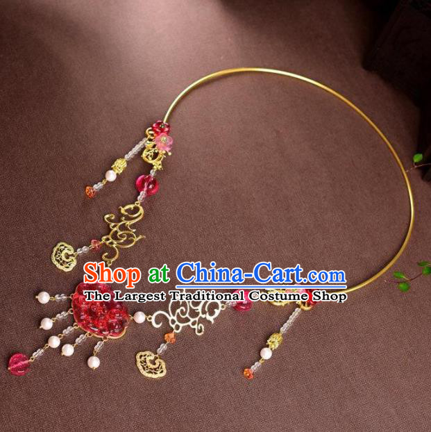 Chinese Handmade Wedding Necklace Traditional Hanfu Coloured Glaze Necklet Accessories for Women