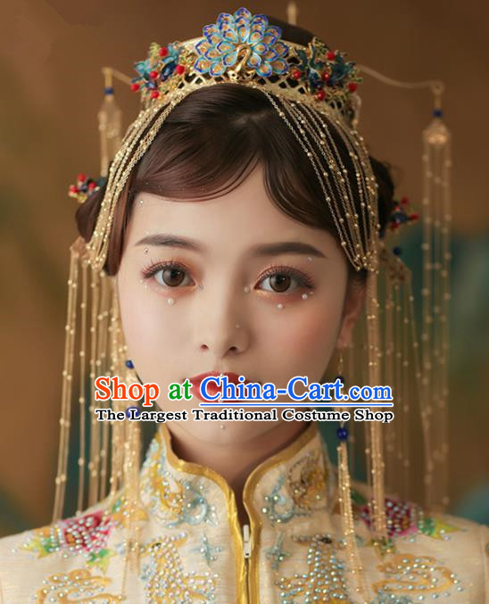 Chinese Ancient Cloisonne Peacock Phoenix Coronet Bride Hairpins Traditional Wedding Hair Accessories for Women
