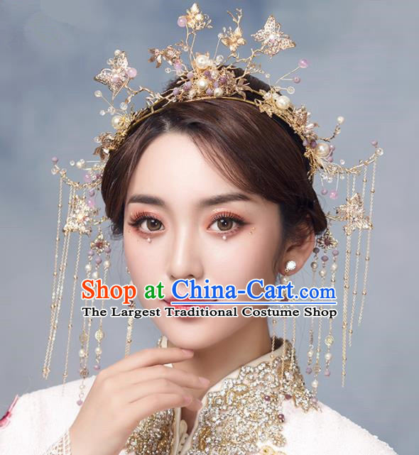 Chinese Ancient Crystal Butterfly Phoenix Coronet Bride Hairpins Traditional Wedding Hair Accessories for Women