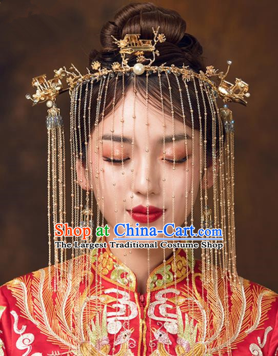Chinese Ancient Bride Tassel Face Curtain Hairpins Traditional Wedding Hair Accessories for Women
