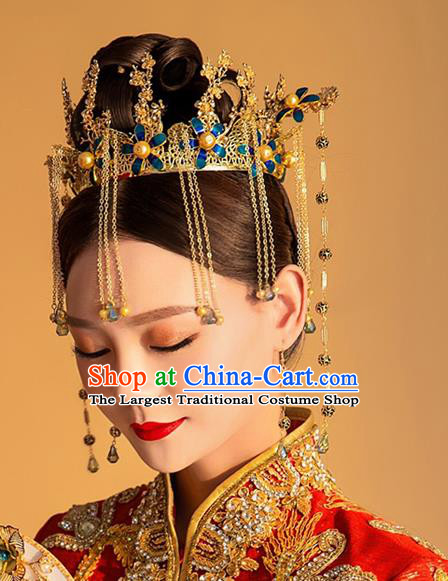 Chinese Ancient Handmade Bride Hairpins Traditional Phoenix Coronet Classical Wedding Hair Accessories for Women