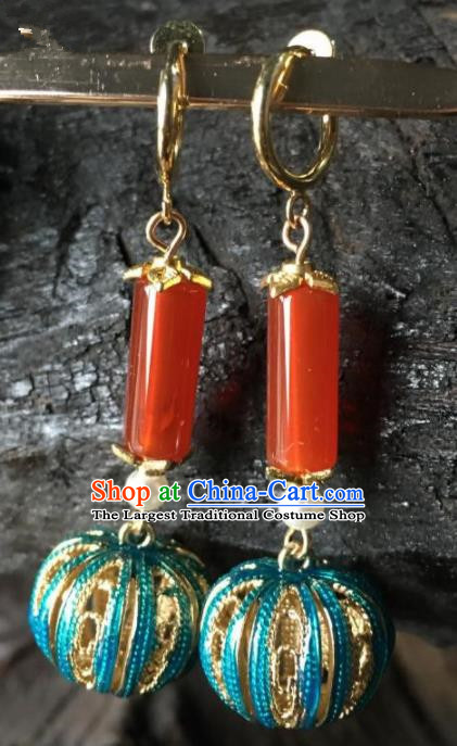 Chinese Handmade Cloisonne Earrings Traditional Ancient Palace Agate Ear Accessories for Women