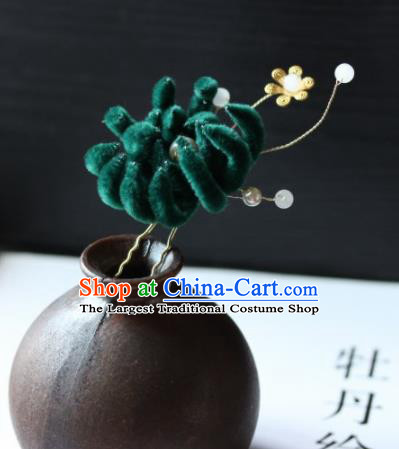 Top Grade Chinese Ancient Palace Deep Green Velvet Flower Hairpins Traditional Hair Accessories Headdress for Women