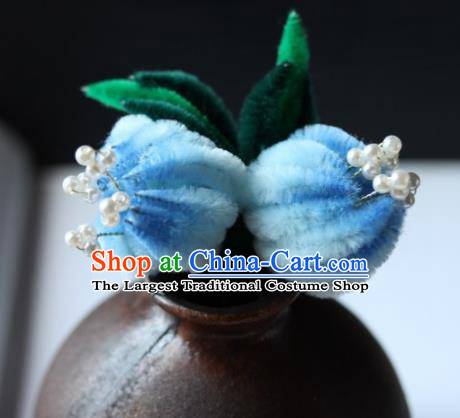 Top Grade Chinese Ancient Palace Light Blue Velvet Flowers Hairpins Traditional Hair Accessories Headdress for Women