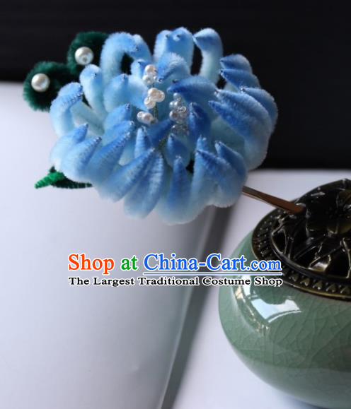 Top Grade Chinese Ancient Palace Blue Velvet Chrysanthemum Hairpins Traditional Hair Accessories Headdress for Women
