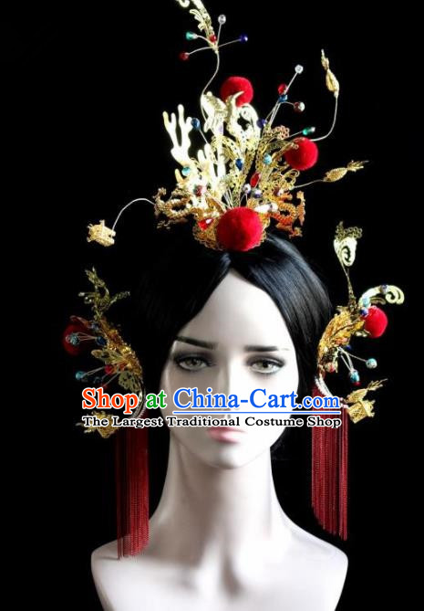 Chinese Ancient Bride Exaggerated Phoenix Coronet Hairpins Traditional Wedding Hair Accessories for Women