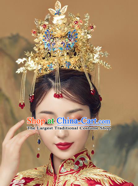 Chinese Ancient Bride Golden Phoenix Coronet Hairpins Traditional Wedding Hair Accessories for Women