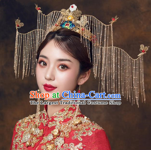 Chinese Ancient Bride Blueing Peony Phoenix Coronet Hairpins Traditional Wedding Hair Accessories for Women