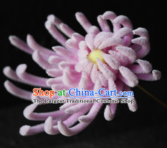 Chinese Ancient Palace Pink Velvet Chrysanthemum Hairpins Traditional Wedding Hair Accessories for Women