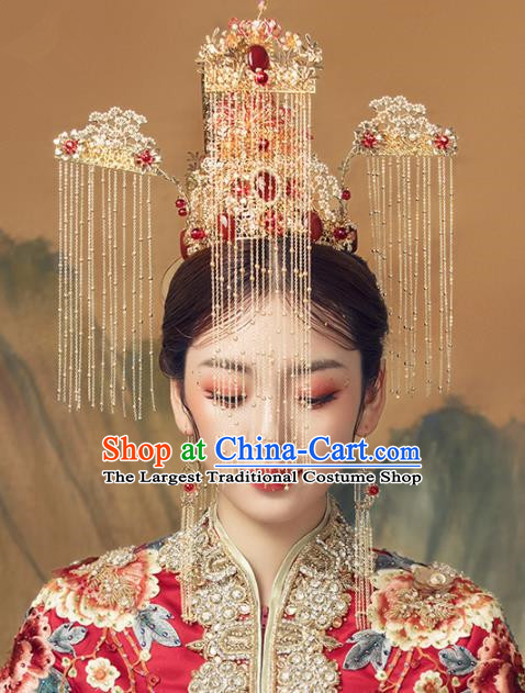 Chinese Ancient Palace Tassel Phoenix Coronet Hairpins Traditional Wedding Hair Accessories for Women